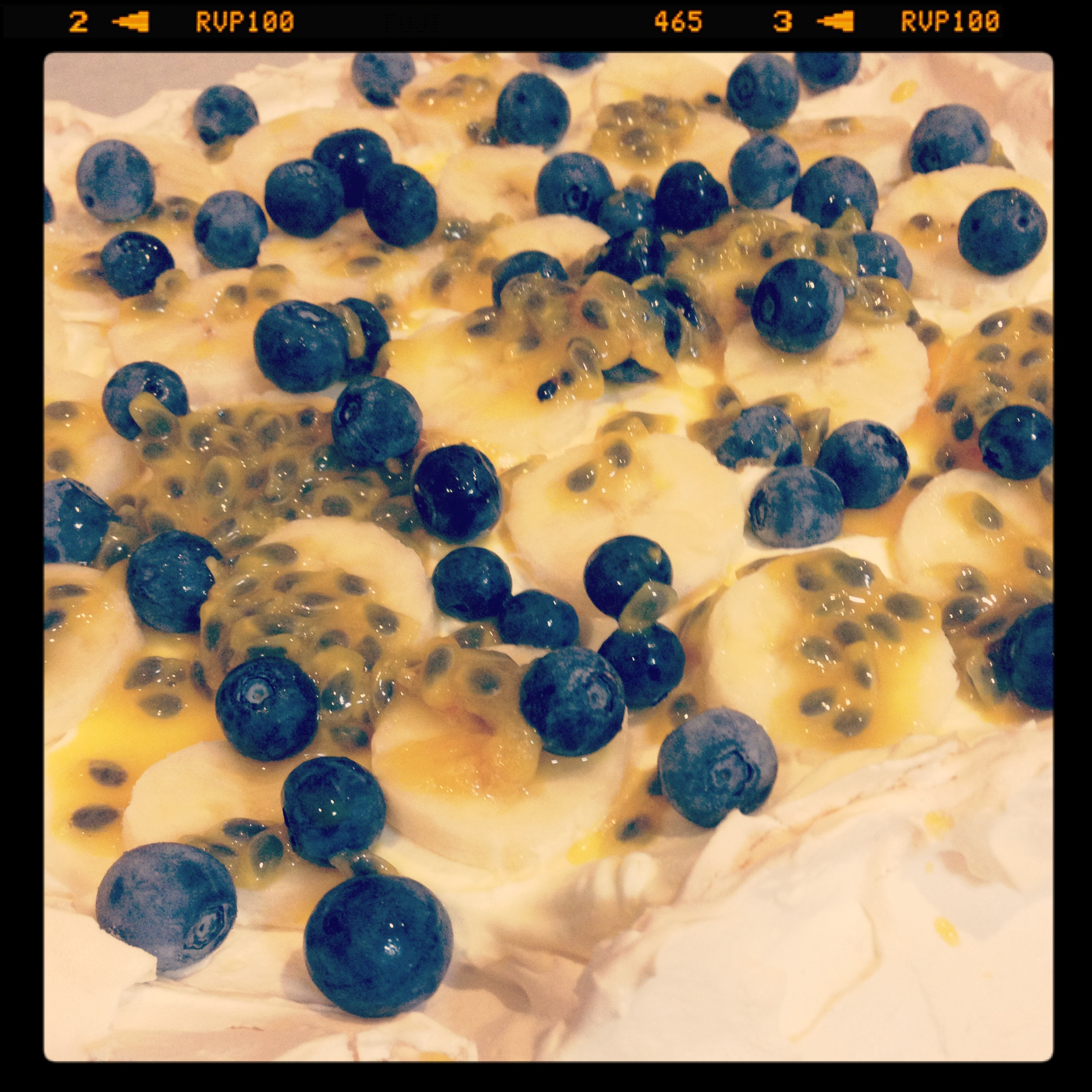 Blueberry, banana and passionfruit pavlova