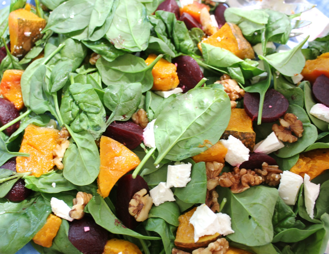 Beetroot, pumpkin, feta and walnut salad
