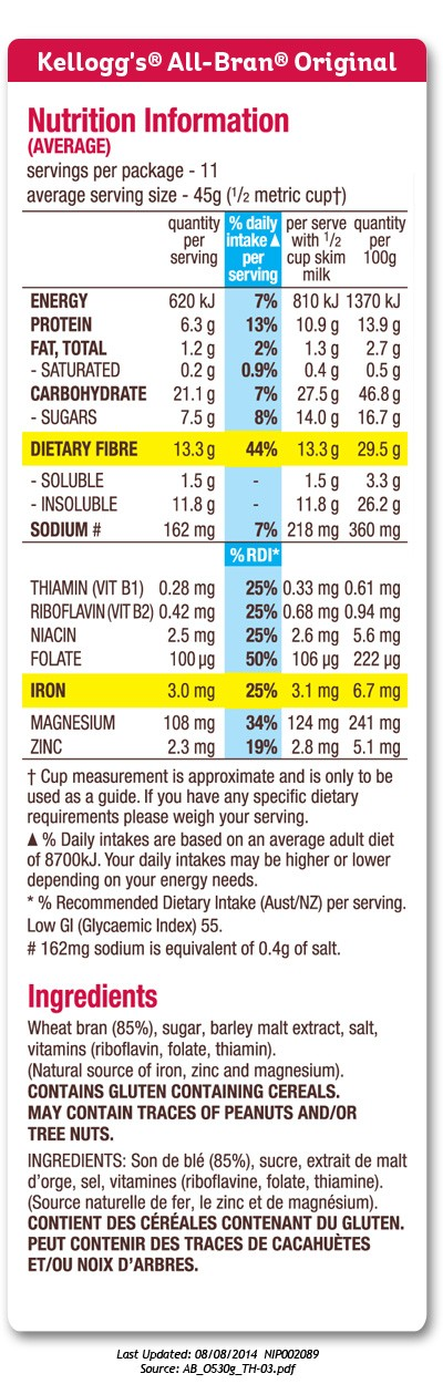 Nutrition information panel for Kellogg's All Bran cereal