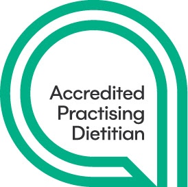 The words Accredited Practising Dietitian inside two green lines in a circle around it.